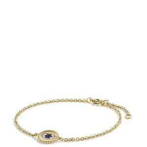 Evil Eye Charm Blue Sapphire/blackDiamonds in gold